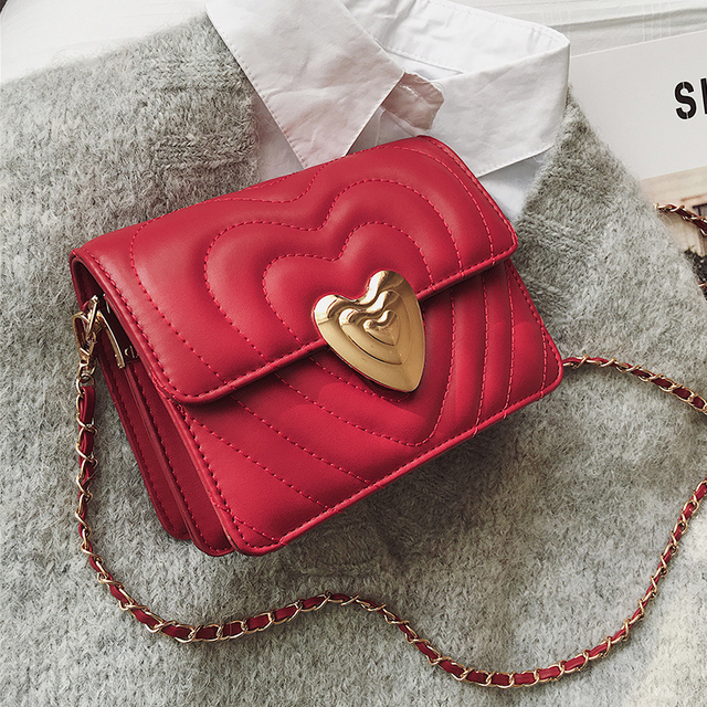 ETAILL Heart Shape Lock Flap Quilted Crossbody Bag with Golden Chain Famous Luxury Brands Pu Leather Plaid Bag for Women 2019