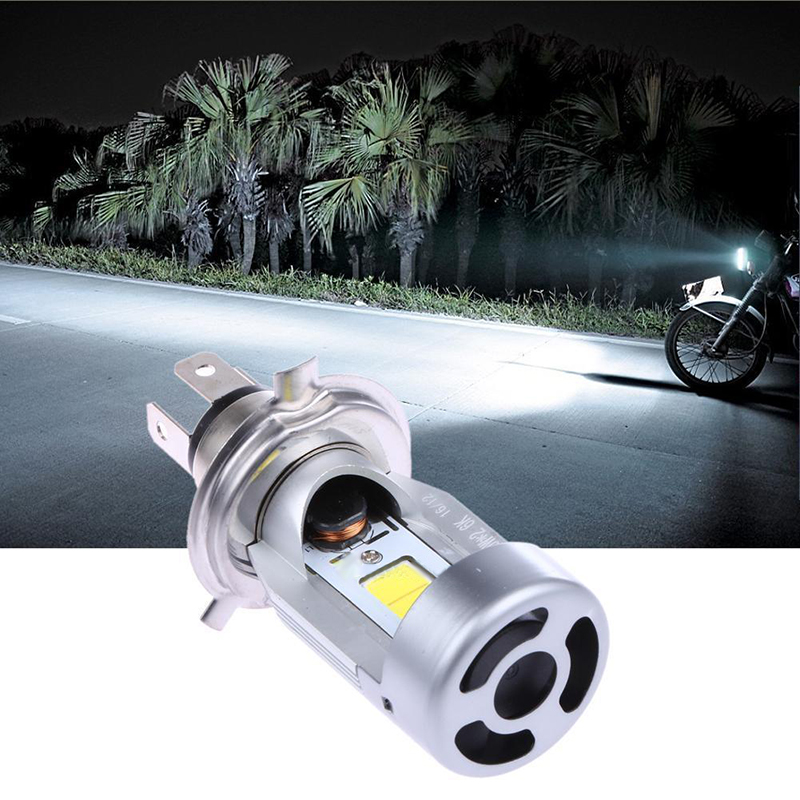 Durable 1pcs H4 20W 2000LM COB LED Hi / Lo Beam Motorcycle Headlight Front Light Bulb Stainless Steel Motorbike White Head Lamp 2016 new 800lm h4 white cob led hi lo beam motorcycle super bright headlight front light bulb lamp dc 6 to 80v