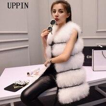 UPPIN Новая мода женский зимний меховой жилет шифрование натуральные перья страуса Турция перо меховой жилет шуба