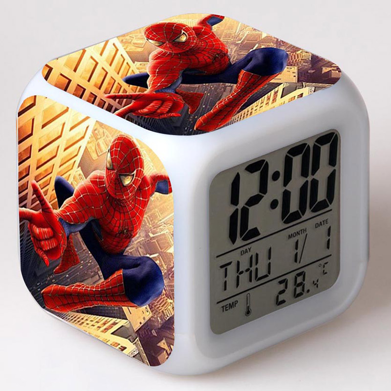 Avengers Classic Action Figures Spider Man Alarm CLock With LED Colorful Touch Light Super Hero Spider-man PVC Toys for Boys краски гуашевые 6 цв 10мл spider man classic