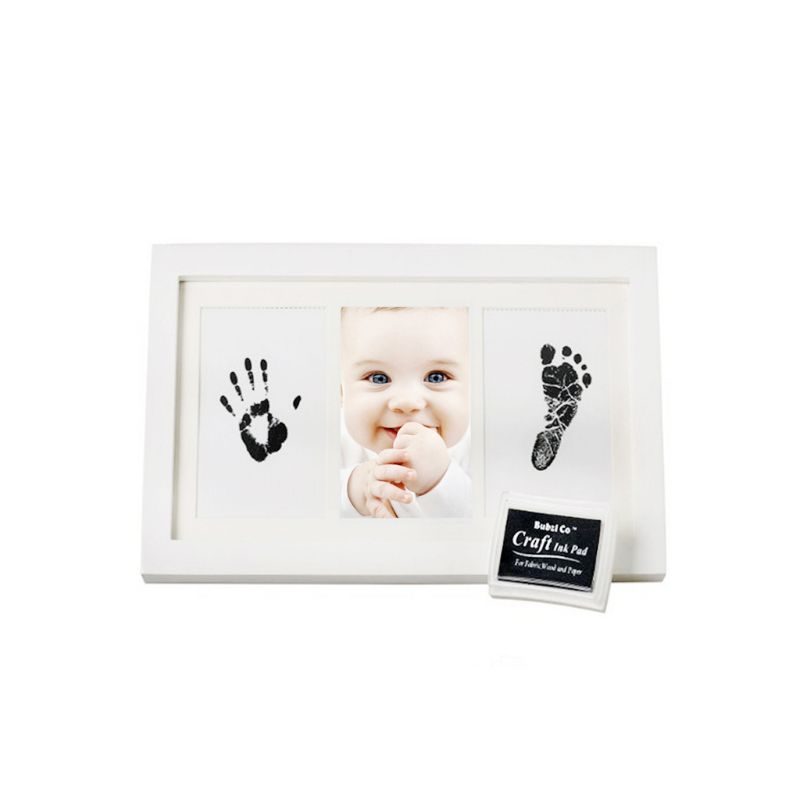 Creative DIY Baby Hand Foot Print Pictures Souvenirs Commemorate Kids Growing Memory Baby Shower Gift Display Wood Photo Frame