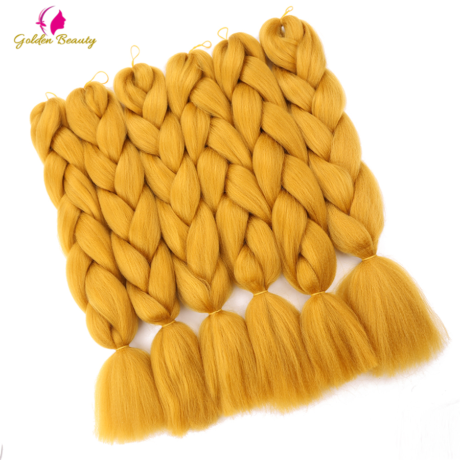 Golden Beauty Jumbo Braids Crochet Hair Extensions Synthetic Hair for Braiding Updo Style 24inch pure color