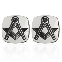 Men's shirts Cufflinks high-quality copper material Silver Square Masonic Cufflinks 2 pairs of packaging for sale