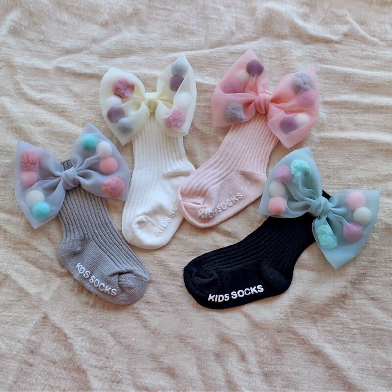 Newborn Baby Girls Socks With Big Bows Toddlers Infants Cotton Ankle Socks For Kids Girls Princess Sock Cute Children Socks
