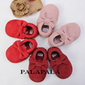 Suede Genuine Leather soft baby boy shoes First Walkers Toddler baby moccasins Anti-slip Infant fringe Shoes with bow-knot