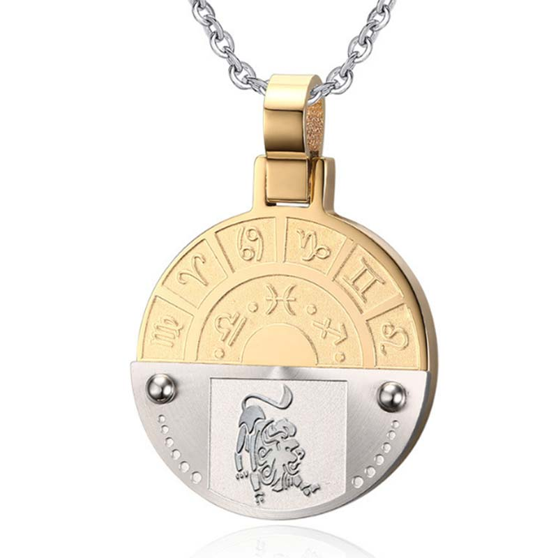 Vintage Zodiac Horoscope Sign Titanium Dog Tag Necklace: Stainless Steel 12 Zodiac Signs Leo Pendant Necklace For