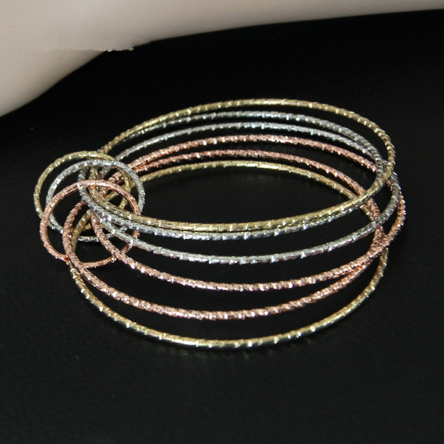 Cirgenfashion Indian Style Multirow Iridescent Silver Mix Gold Color Color Circles Cuff Bangle