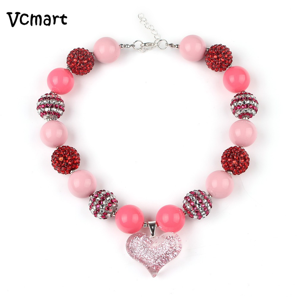 New 2017 Wholesale 1pcs Valentines Day Pink Heart Chunky ...