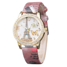 relojes mujer 2017 women watches Butterfly Tower Pattern Leather Band Analog Quartz Vogue Watches relogios femininos