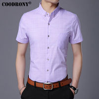 COODRONY Cotton Casual Shirts Men Brand Clothes 2017 Summer New Fashion Striped Short Sleeve Shirt With