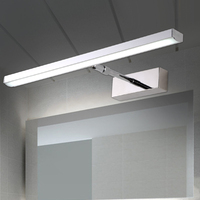 Modern brief bathroom adjustable angle LED mirror light cosmetic stainless steel retractable bathroom cabinet wall sconce lamp