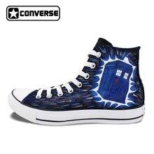 Ручная роспись Converse All Star Дизайн Полиция Box обувь на плоской подошве и на шнурках унисекс высокие холщовые кроссовки для подарков