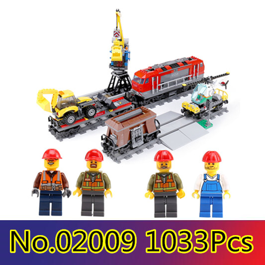 Lepin 02009 1033 pcs Model building kits compatible with lego city RC Heavy-haul Train Set 60098 Toy Building Block Toy lepin 02009 city engineering remote control rc train model