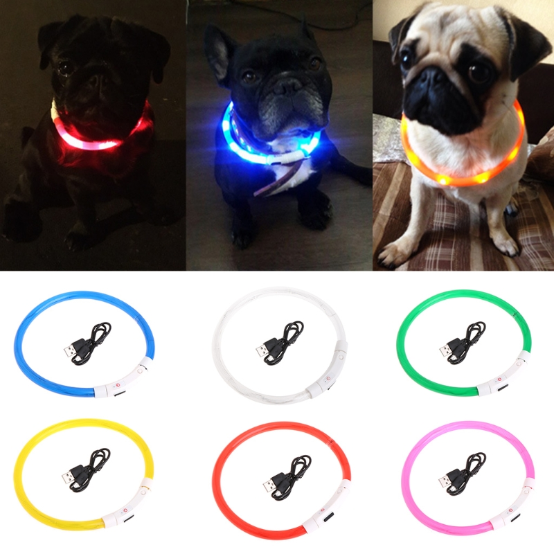 Let s Pet 35cm Pets Puppy Light Flashing Collar Soft Identification USB Charge For Cat Dog