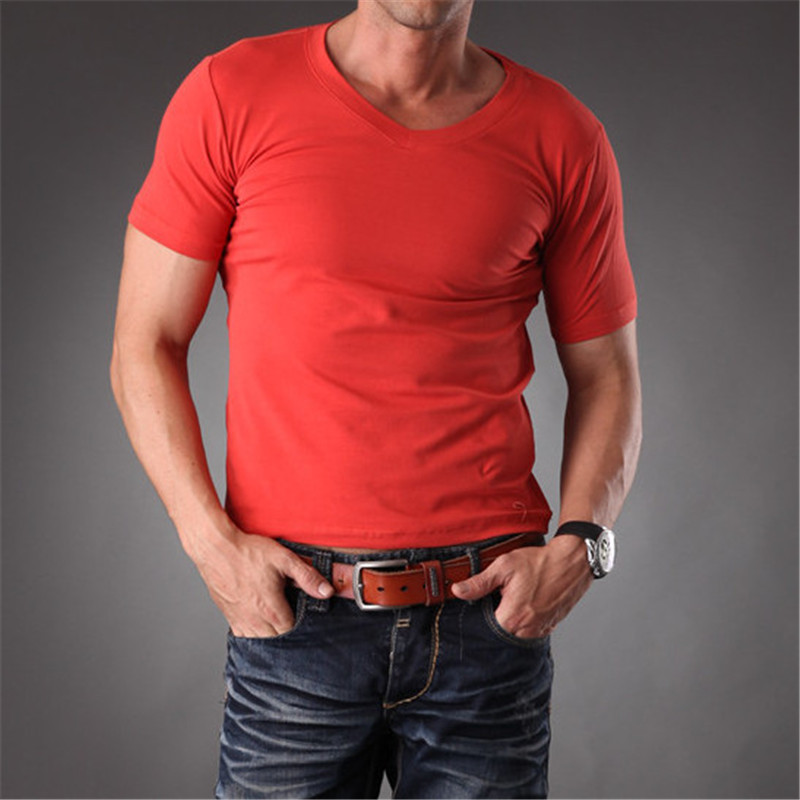 Mens Body Muscle Fit Dry Blank T Shirts Men Slim Fit White V Neck Plain t-shirts Good Quality Stretchy Cotton  Clothes MT-1353