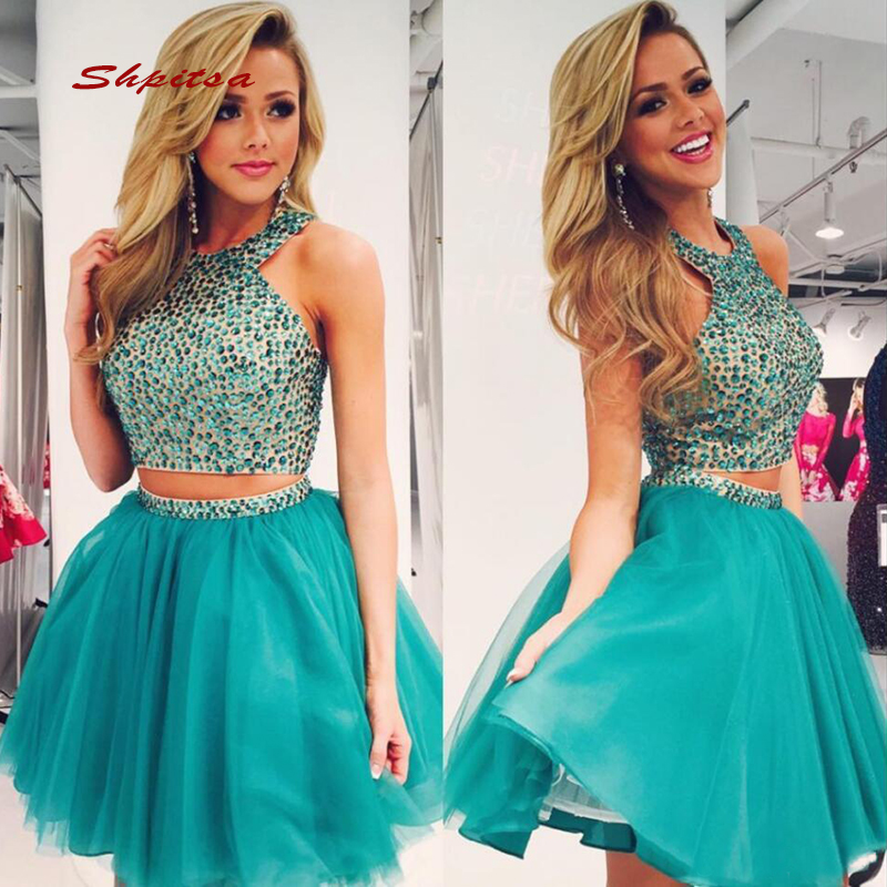 Sexy Short   Cocktail     Dresses   Party Luxury Crystals Homecoming Graduation Women Prom Plus Size Coctail Mini Semi Formal   Dresses