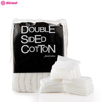 Skineat 3 Sets 600 Pcs Double Sided Facial Make Up Cotton Pads Necessaire Puff Organic Wadded