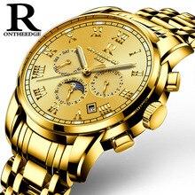 Montres de luxe nouveau marque double butterfly boucle en acier inoxydable montre hommes horloge multifonction étanche mécanique montre-bracelet