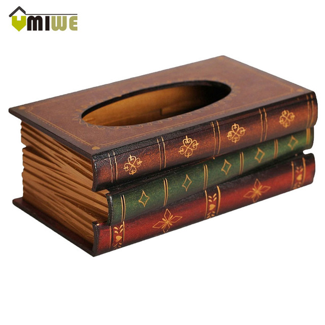 Umiwe Home Decorvintage Retro Tissue Box Cover Holder Wood Book Shaped Wooden Dispenser Paper Napkin