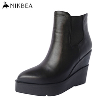 2016 Nikbea Brand Winter Chelsea Boots Ankle Boots for Women Sexy Wedge Boots Leather Black Platform Booties Ladies High Heels