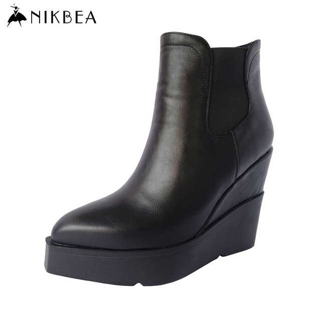 b749acccdb8e6 NIKBEA 2017 Spring Brand Chelsea Boots Ankle Boots for Women Sexy Wedge  Boots Leather Black Platform Booties Ladies High Heels