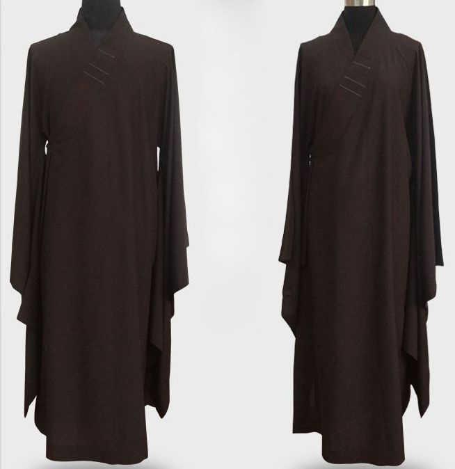5色ユニセックスグレー/イエロー/コーヒー/黒仏教少林寺僧侶ワイドスリーブローブ制服築くガウン瞑想スーツ服コプソーン