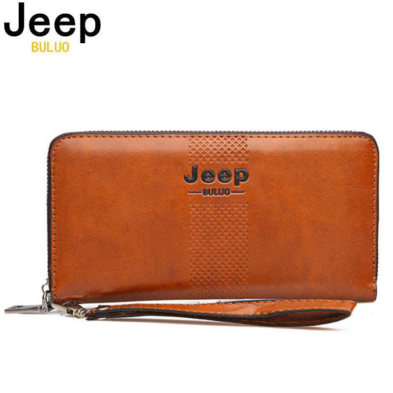 JEEP BULUO Men Clutch Wallets Famous Brand Long Wallet Purse Large Capacity Handbags Clutch Bag For IPhone Man Leather Fashion