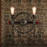 Винтажный Железный Лофт настенный светильник 2 головки. Креативный велосипед колесо водопровод настенный светильник бар ИНН осветительный