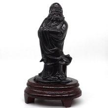 Dharma Arhat Statue 7.67 Natural Black Obsidian Crystal Carved Figurine Reiki Home Decor