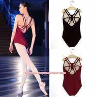 Backless Senza Maniche Spandex e Cotone Balletto Body Per Le Donne di Balletto Dancewear Adulto Vestiti di Pratica di Ballo Ginnastica Body