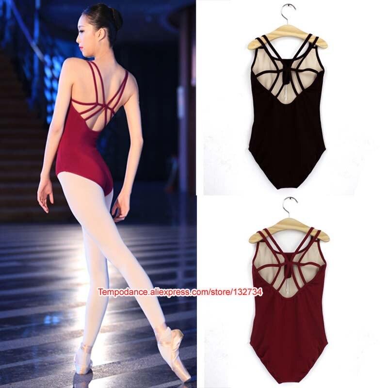 Sem costas sem mangas elastano & collants de balé de algodão para mulheres ballet dancewear adulto dança prática roupas ginástica collants