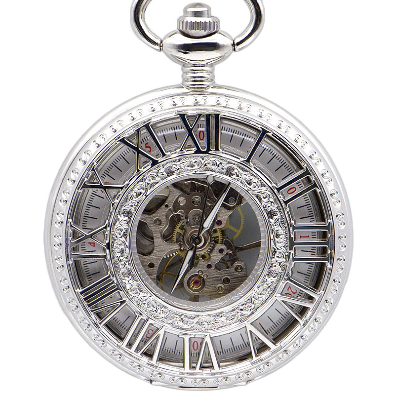Drop Shipping Retro Silver Mechanical Pocket Watch Mens Fashion Necklace Pendent Hollow Carving White Analog With Mens Gift