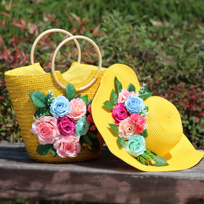 Straw Handbags Yellow travel holiday flower Beach Hat package seaside sunscreen hat handmade eaves straw hat