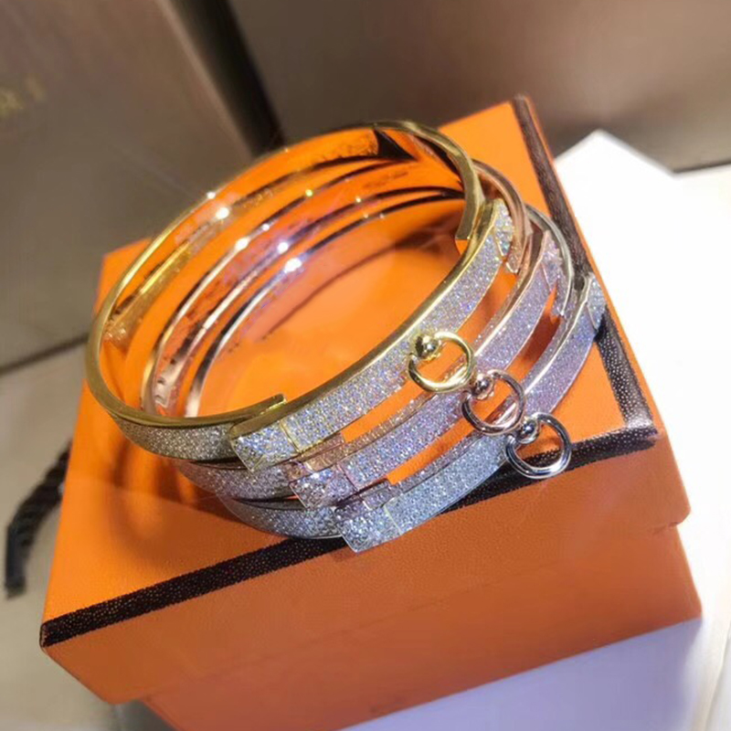 Brand Pure 925 Sterling Silver Jewelry For Women Twist Lock Silver Bangle Full Stone Rose Gold