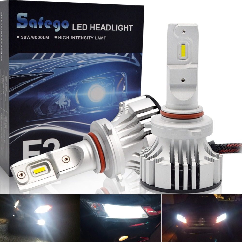 Safego 36W 9005 H7 H4 Hi/Lo H8 H9 H11 9006 Car LED Headlight Kit Bulbs 4 Super Bright LED Chips 6000Lm Auto Bulb White 6000K