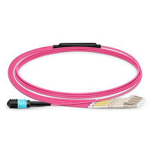 QIALAN 30m  MTP MPO Patch Cable OM4 Female to 6 LC UPC Duplex 12 Fibers cord cores Jumper Breakout Cable,