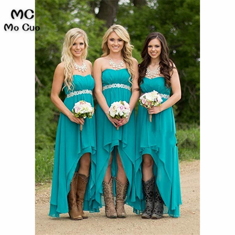 2019 In Stock Women' Strapless High Low   Bridesmaid     Dresses   Jewels Belt Wedding Party   Dress     Bridesmaid     Dress   Custom Made