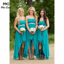 2019 In Stock Women' Strapless High Low Bridesmaid