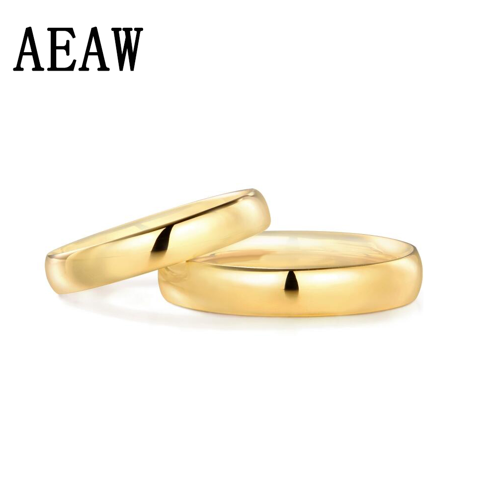 1PC Plain 14K White or Yellow Ring New Fashion Engagement Wedding Ring Women Man Band Ring Jewelry Free Ship
