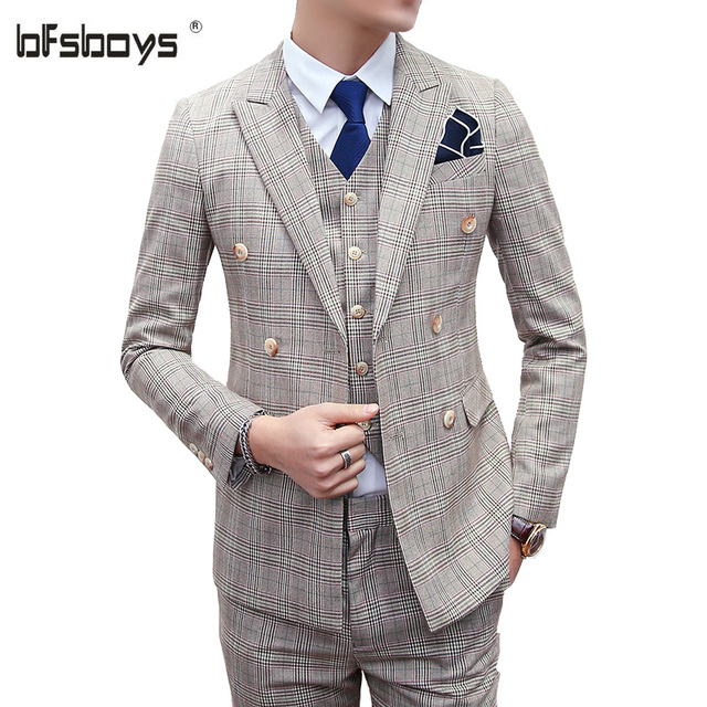 (jacket + pants + vest)2016 high quality  fashion plaid Suit men vintage double breasted men's suit classic groom suit set block