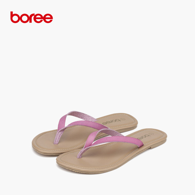 Boree Summer Women's Sandals Fashion Flip Flops Casual Shoes Soft Leather Classics  Solid Non-Slip Flat Beach Slippers SDL0033