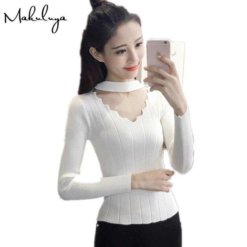 Makuluya mujeres moda Con Cuello En V suéter de manga larga de punto camisa feme