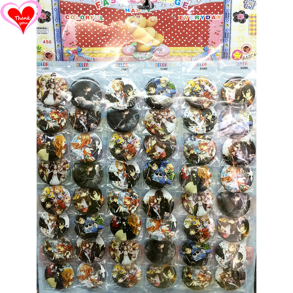 Love Thank You Sword Art Online SAO 45MM 16/24/32/40/48 հատ շատ PIN BACK BADGE BUTTON BROOCH for BAG GIFT TOY CLOTH Անիմե