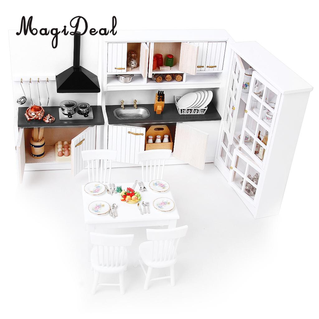 Hot Sale 1 12 Dollhouse Modern Sense Furniture Kitchen Cabinet Table Set Silver Metal Wine Set