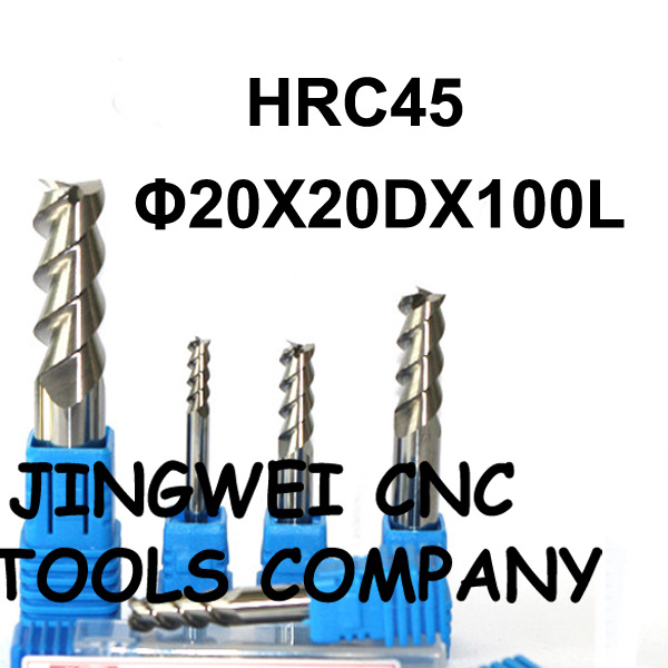HRC 45 Carbide end mill for aluminum 20X100mm standard length end mill for copper scgo for 10mm shank diameter carbide end mill sld10 c25 200l 2080 side lock end mill extension holder