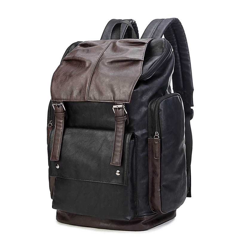 Fashion Contrast Color Backpack Large Capacity Trendy Belt Buckle Casual School Bag Men Waterproof Outdoors Travel Back Pack candy color large capacity waterproof nylon backpack brand high quality fresh leisure and travel bag contrast color stripe bag