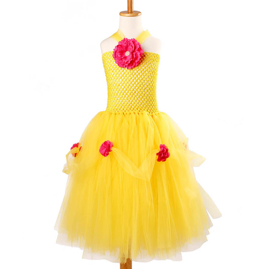 Yellow Princess Belle Tutu Dress The Beauty and the Beast Inspired Girls Birthday Party Dress Kids Photo Cosplay Costumes Vestidos (9)