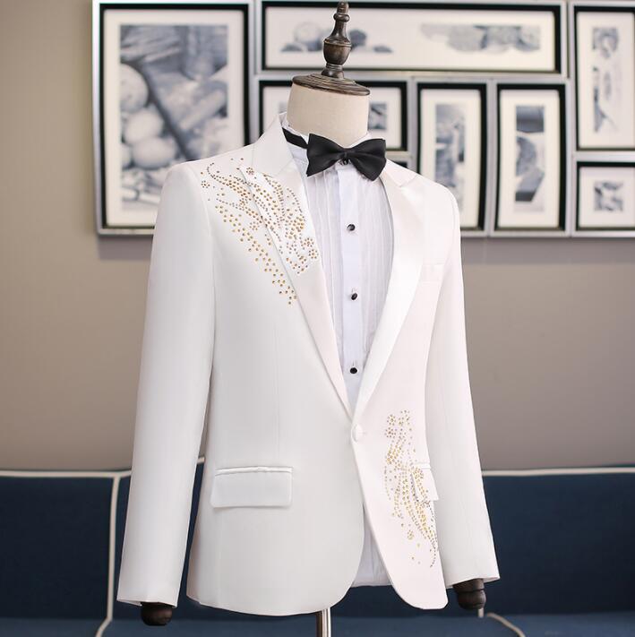 Wedding suits voor mannen blazer jongens prom mariage suits Gastheer zanger slim masculino nieuwste jas broek ontwerpen chorus bruidegom kleding - 6