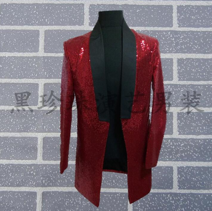 Long Homme Danse Vêtements Robe rouge Chanteurs De Noir Noir Pour Hommes Veste Rock Terno Style Costumes Scène Les Sequin Blazer Conceptions wCxtOqFCWp