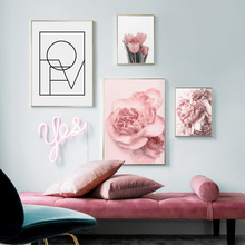 Wall Art Print Pink Rose Flower Quotes Canvas Painting Living Room Nordic Posters And Prints Pictures Girl Bedroom Decor